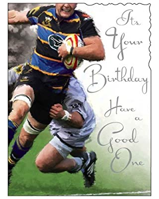 Male Birthday / Greeting Card (JJ1658) Rugby - Silver Embossed by The Jonny Javelin Card Company Ltd