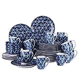 Vancasso Sasaki Porzellan Tafelservice, 48-teilig Geschirr Set für 12 Personen, Japanisch Stil, Blau