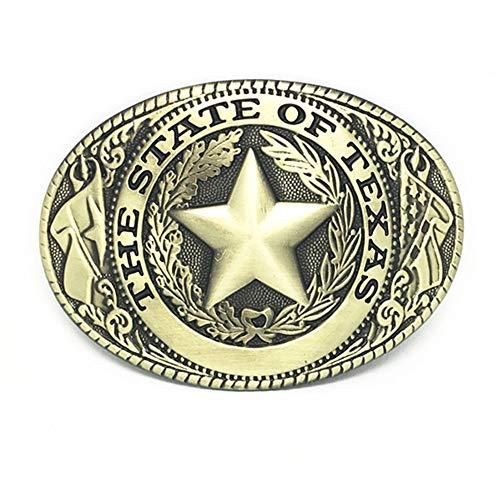 RQWY Gürtelschnalle Westernschnalle Pentagramm THE STATE OF TEXAS Menge von Zinklegierung verschleißfesten Männer Gürtelschnalle für 4.0 Gürtel (Pentagramm-gürtelschnalle)