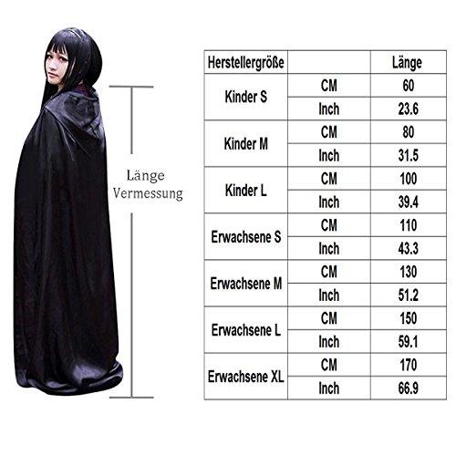 Damen Herren Halloween Umhang Karneval Fasching Kostüm Cape mit Kapuze Schwarz - 7