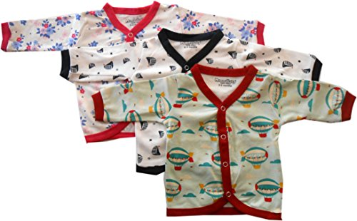 Nammababy Cotton Front Open Full Sleeves Vest- Tshirt -Multi Cute Set Of 3 (9-12 Months)