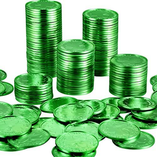 Zhanmai 200 Packung Kunststoff St. Patrick's Day Kleeblatt Münzen 3 Blatt Klee Good Luck Münzen Kunststoff Tabelle Sprinkles (Green) (Kleeblatt Gold Münzen)