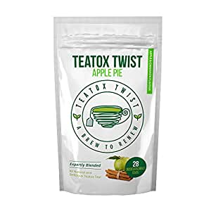 Teatox Twist Apple Pie Flavour 28 Day Plan. Delicious Premium Detox Tea To Drink At Any Time. Fantastic Weight Loss Tea Great Unique And Delicious Herbal Tea Blend. Pack Contains 28 Biodegradable Tea Bags.