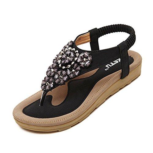YOUJIA Damen Bling Fläche Schuhe Elastische Strap Sandalen Strass Outdoor Schuhe Schwarz