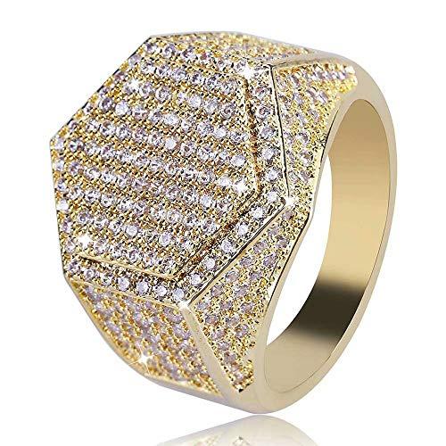 Jacklin- F Hip Hop Ringe Bling Crystal Hexagon Form Ring Rapper Fingerring Iced Out CZ Gold/Silber vergoldet Schmuck für Männer/Frauen