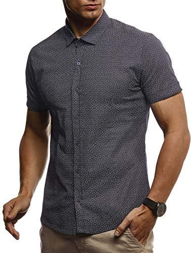 LEIF NELSON Herren Hemd Kurzarm Slim Fit T-Shirt Kentkragen   Stylisches Männer Freizeithemd Stretch Kurzarmhemd   Jungen Basic Shirt Freizeit Sweater Sommerhemd   LN3710 Blau Large