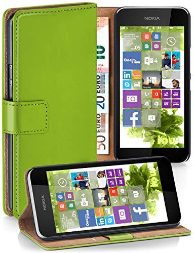 moex® Booklet mit Flip Funktion [360 Grad Voll-Schutz] für Nokia Lumia 530 | Geldfach und Kartenfach + Stand-Funktion und Magnet-Verschluss, Grün (Lumia530 Dual-sim)