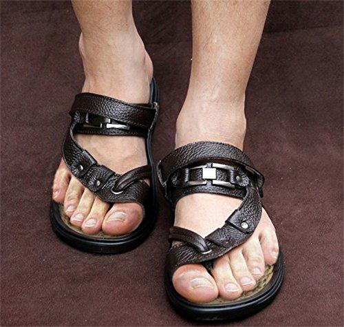 insun Herren s Leder Strap Thong Flip Flop Braun