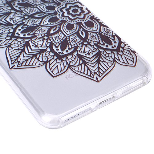 iPhone 7 Plus Hülle,SainCat iPhone 7 Plus Silikon Hülle Ultradünn Weich Transparent Plastik Handyhülle Gel Combo Schutzhülle [Kratzfeste, Scratch-Resistant] Ultra Slim Dünn Kristall Handytasche Weich  Die Hälfte schwarze Blume