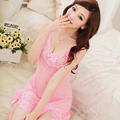 lpkone-Tentation lingerie sexy ladies dentelle chemise de maille sangle ensemble lingerie transparente Taille Libre,la lavande Pink
