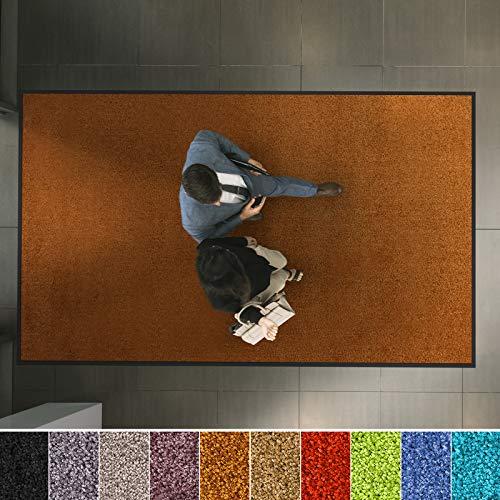 etm Hochwertige Fußmatte | schadstoffgeprüft | bewährte Eingangsmatte in Gewerbe & Haushalt | Schmutzfangmatte mit Top-Reinigungswirkung | Sauberlaufmatte waschbar & rutschfest (60x90 cm, Braun)
