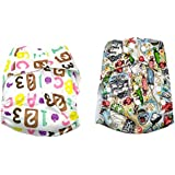 Baby Bucket All-In-One Bottom-bumpers Cloth Diaper Set Of 2 (White Alpbt & Sweet)