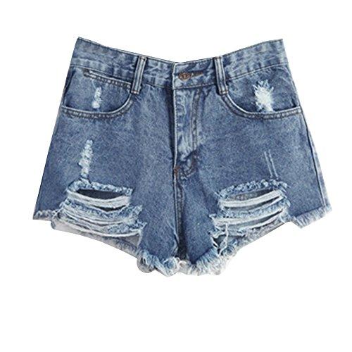 Mujer Push Up Boyfriend Cintura Alta Retro Rasgados Rotos Shorts Pantalones  Cortos De Mezclilla Vaqueros Cortos 701c9690618