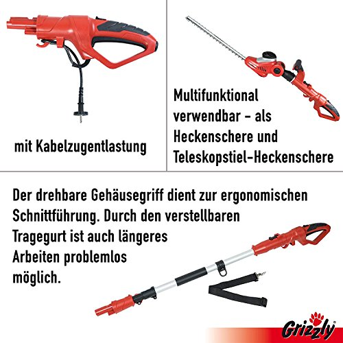 Grizzly Elektro Kombi Heckenschere EKHS 500-51 mit herausnehmbaren Teleskopstiel, 2 Heckenscheren zu 1 Preis, 500 W, 51 cm Messerlänge, 45 cm Schnittlänge, 3.5 m Schnitthöhe