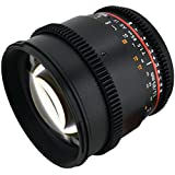Rokinon CV85M-C 85mm t/1.5 Aspherical Lens for Canon with De-Clicked Aperture and Follow Focus Compatibility Fixed Lens (Black)