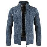 Herren Stricken Strickjacke Herbst Winter Festival warme Mode einfarbig Pullover Reißverschluss Blau Medium