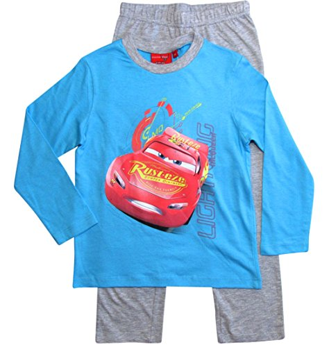 Cars Disney 3 Kollektion 2018 Schlafanzug 92 98 104 110 116 122 128 Jungen Pyjama Lang Lightning McQueen (98, Blau-Grau)