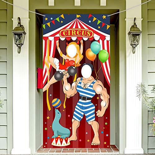 y Dekoration Karneval Foto Tür Banner Hintergrund Requisiten, Große Stoff Foto Tür Banner für Karneval Zirkus Party Deko Karneval Spiel Liefert, 6x3 Füße ()
