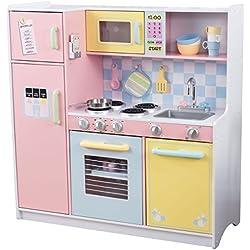 KidKraft 53181 Cocina de juguete Large Pastel de madera para niños con accesorios de juego y teléfono de juguete incluidos - Color pastel
