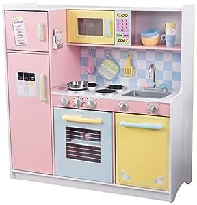 KidKraft 53181 Cuisine enfant en bois Large Pastel, jeu d'imitation incluant accessoires et téléphone