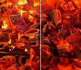 DAMU |Ceranfeldabdeckung 2 Teilig 2x30x52 cm Herdabdeckplatten Abstrakt Elektroherd Induktion Herdschutz Spritzschutz Glasplatte Schneidebrett Rot Flamme