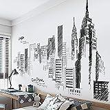 YUSDK Adesivi Grandi Città creativi Soggiorno Camera da Letto Sfondo Decorazione della Parete Adesivi Muro Bianco e Nero Costruzione Carta da Parati autoadesiva
