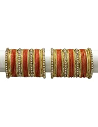 MUCH MORE Elegant Orange Colour Bangles Set With Crystal Stone