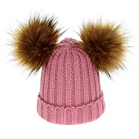 lilyshopingstore Boys Girls Winter Warm Bobble Knit Beanie Hat Kids Crochet Ski Hats Toddler Detachable Double Fur Pom Pom Cap for Christams Gift 3-12 Years Old (ski Pink)