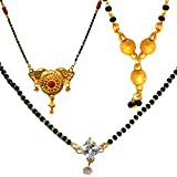 #5: Mansiyaorange Combo Of One Gram Gold Party Casual Wedding wear Three Different Shape Original Gold Look And Tripple Ball and AD sTONEShort Fine Golden Glorious Long And Short Mangalsutra (MS) for women(18INCH Three Ball,AD Stone And 26 INCH)(Combo Of Three)