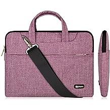 13.3-14 Inch Laptop Bag,Multifunctional Fabric Waterproof Laptop Case,Portable Sleeve Briefcase,Adjustable Shoulder Strap&Suppressible Handle(purple lines,13.3