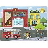 Melissa & Doug - Rompecabezas de madera de 8 piezas, Around the Fire Station Sound Puzzle ( 10736)