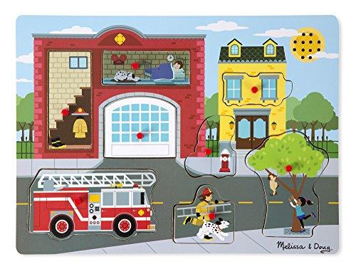 Melissa & Doug- Puzzle Sonore Autour de la Caserne des Pompiers 8 Pièces, 10736