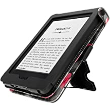 iGadgitz Premium Custodia in Eco-Pelle per Amazon Kindle 2014, Schermo Touch, 7 ° Generazione con Microfibra Antimacchia Interna, Rosa/Nero