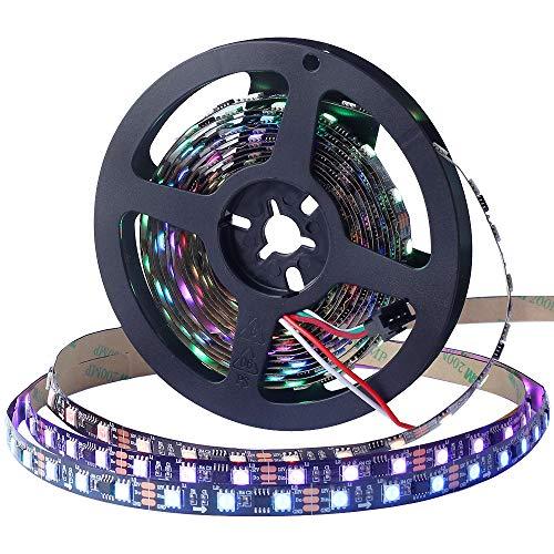 CHINLY WS2811 5m 100IC 300leds Tira de píxeles LED Flexible Tira de Led individual direccionable Color de sueño No impermeable DC12V Negro PCB