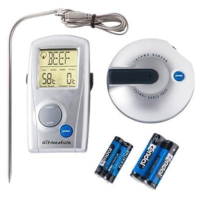 Ultranatura Digital Funk Grillthermometer TM-50, Grill Fleischthermometer mit LED Anzeige, Bratenthermometer zum Fleisch grillen, BBQ Thermometer