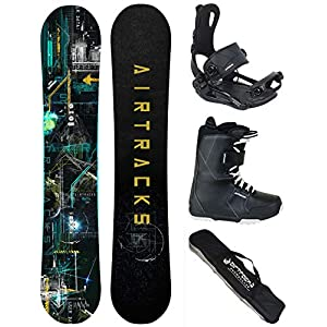 Airtracks Snowboard Komplett Set – DATA Snowboard Zero Rocker + Snowboardbindung Master FASTEC ™ + Snowboardboots + Sb Bag / 150 155 160 164 cm