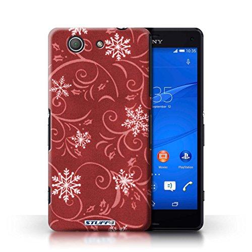 Kobalt® Imprimé Etui / Coque pour Sony Xperia Z3 Compact / Noir conception / Série Motif flocon de neige Rouge