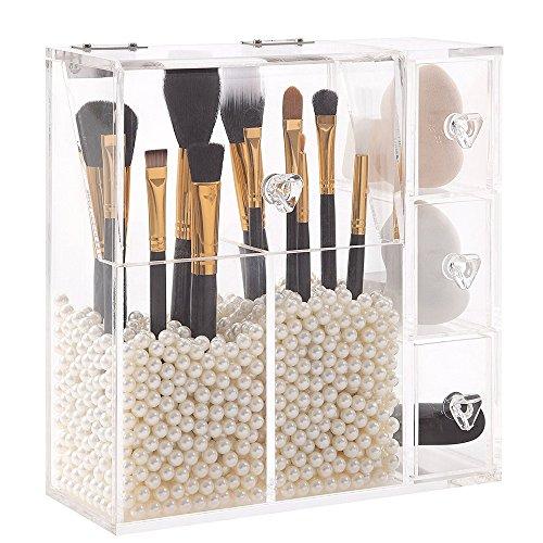 AIYoo Acryl Makeup Organiser Make-up Bürstenhalter Kosmetischer Organisator Aufbewahrungsbox 2 Makeup Pinselhalter und 3 Schubladen mit Elfenbein 1500 Pcs kostenlosen Perle Perlen (Veranstalter Acryl-kosmetik-make-up)