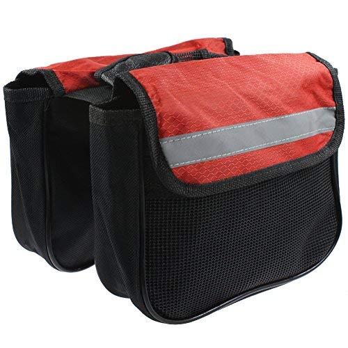RUKEY Fahrradtasche für Vorderrahmen und Fahrrad, Doppelseitig, mit Handy-Tasche für Mountainbikes (groß), rot