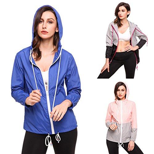 Damen Jacke Windbreaker Übergangsjacke Wasserabweisend Regenmantel Regenjacke mit Kapuze , Farbe - Blau , Gr. XL Blaue Damen Windbreaker
