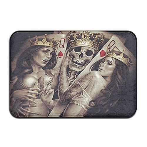Cupsbags King Skull Crown Poker Soft Comfort Flannel Indoor Mats Rugs,Non-Slip Multi-Use Doormat Super Absorbent Washroom Mat Toilet,Kitchen Floor Mats Washable Home Decor Carpets - Amber Kings Crown