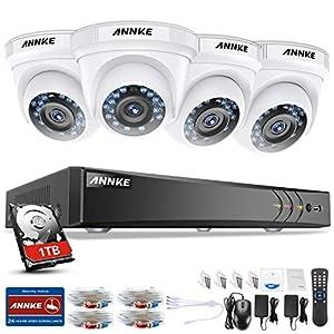 camaras de seguridad: ANNKE Kit Sistema de Seguridad CCTV Cámara de vigilancia Luz de estrella 4CH 3MP...