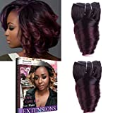 Emmet Fumi Cheveux Ombre Couleurs 20cm Short brésiliens vierges Tissage vague extension de cheveux Curls 100% humains tissage 2bundles 50 g/Bundle
