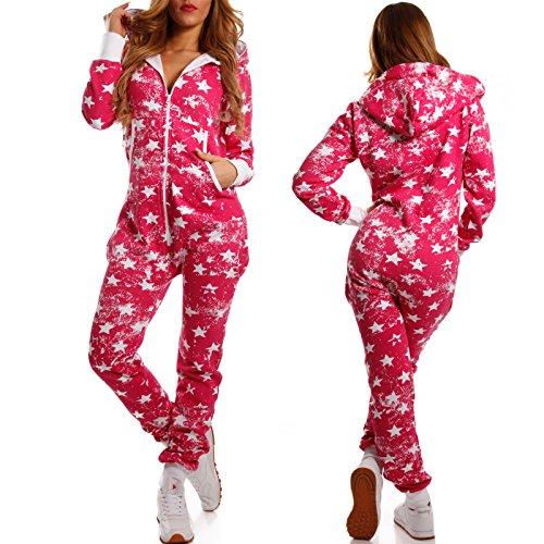 Crazy Age Jumpsuit Overall Weihnachtsmotive Einteiler Ganzkörperanzug Stars one Piece (XS=34, Pink) - 4