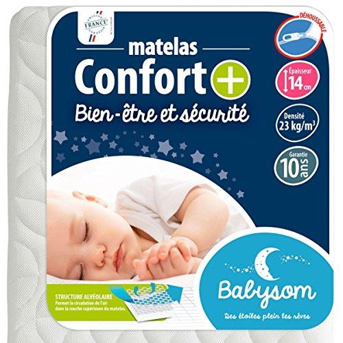 Babysom - Matelas Bébé Confort+ - Epaisseur 14cm, Garantie 10ans, Déhoussable