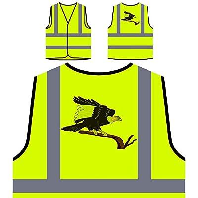 Geier-Bussard-Vogel Personalisierte High Visibility Gelbe Sicherheitsjacke Weste o197v