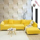 Funda Sofá de 3 plazas Universal Estiramiento, Morbuy Color Sólido Cubierta de Sofá Cubre Sofá Funda Furniture Protector Antideslizante Elastic Soft Sofa Couch Cover (4 plazas,Amarillo)
