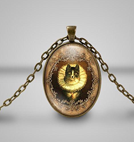 Ruffled Katze Cameo Halskette ... Ruffled Glas