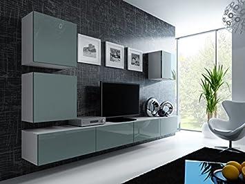 Wohnwand weiß grau hochglanz  Wohnwand ' Vigo 22' Hochglanz Hängeschrank Lowboard Cube , Farbe ...