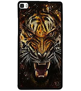 ColourCraft Roaring Tiger Design Back Case Cover for HUAWEI P8